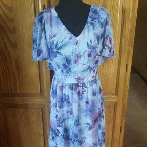 Dreamy Coldwater Creek Chiffon Dress 14 EUC